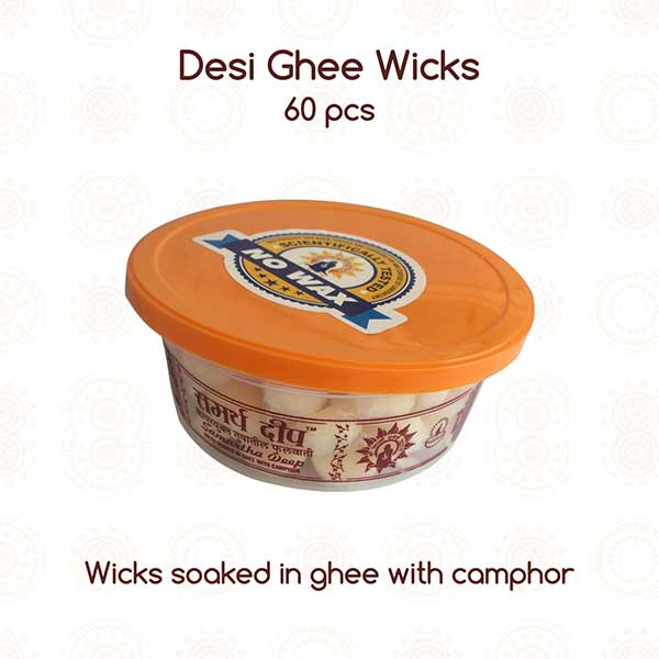 Desi Ghee Wicks Camphor Based PSO (60 Pcs)