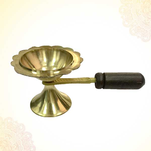 Hand Held brass jyot / diya / oil lamp / loban dan PSO