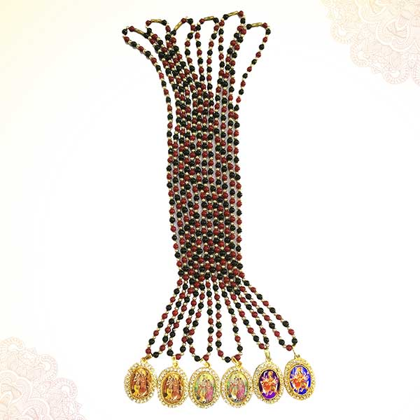 Pearl Beads Garland/Mala with God's Pendant (Pack of 6) PSO