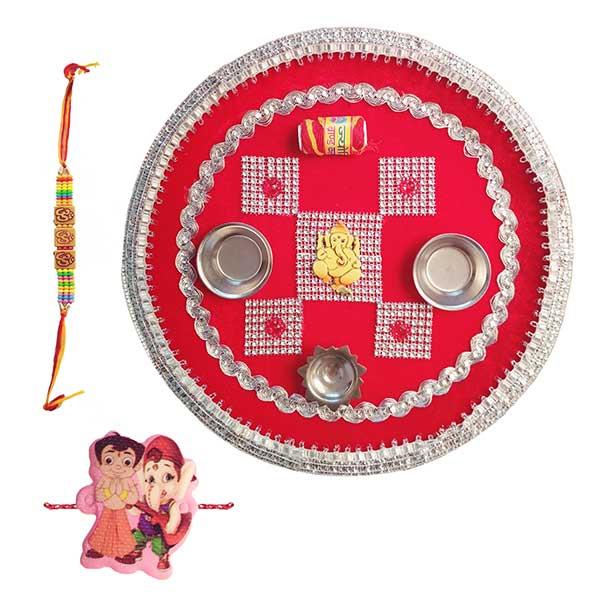 Raksha Bandhan Puja Thali Set/Rakhi Gift Combo Set (Ganesha) PSO