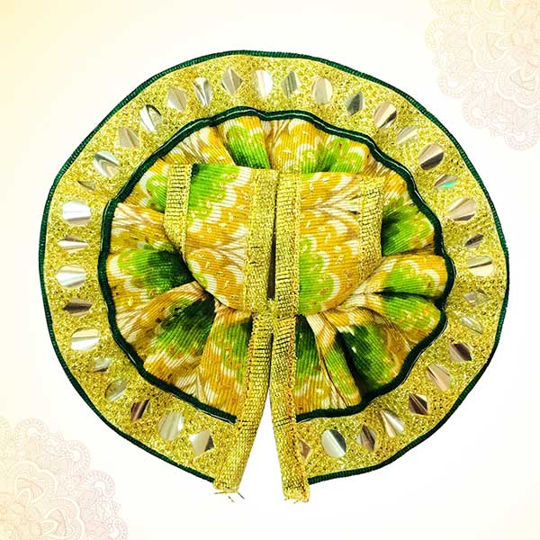 Thakur Ji/Ladoo Gopal/Laddu gopal/Thakurji/krishna/bal gopal Printed Lace Work Dress (GREEN) PSO