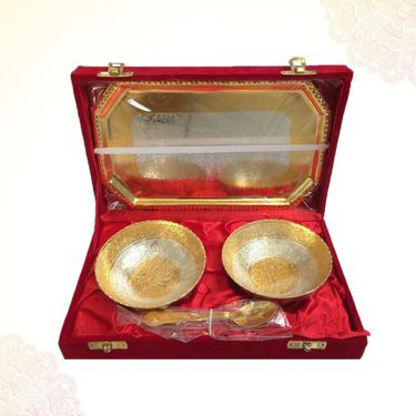 Gold & Silver Plated Brass Bowl Set with tray and spoons in Box Packing PSO (BIG)