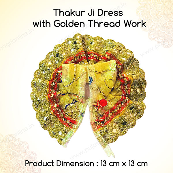 Thakur Ji/Ladoo Gopal/Laddu gopal/Thakurji/krishna/bal gopal Dress with Golden Thread Work (Red and Yellow) PSO