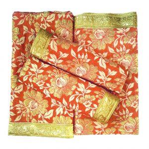 "Puja Samagri Online Silk Mix Rumala Sahib Set 4 Piece Set for Guru Granth Sahib Ji - (Rumala : 50"" x 44"", Palka : 20"" x 20"") (Orange) by Puja Samagri Online"