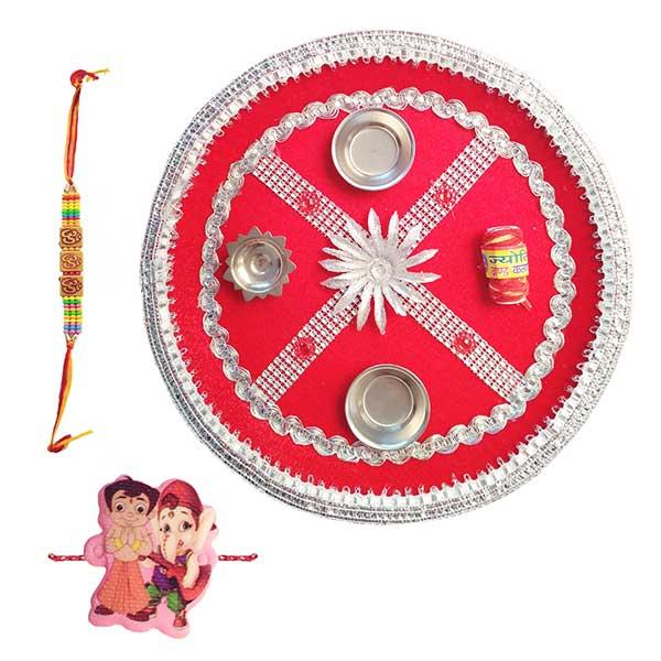 Raksha Bandhan Puja Thali Set/Rakhi Gift Combo Set (Flower) PSO